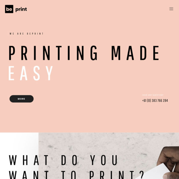 Create a clean website for your printing business.