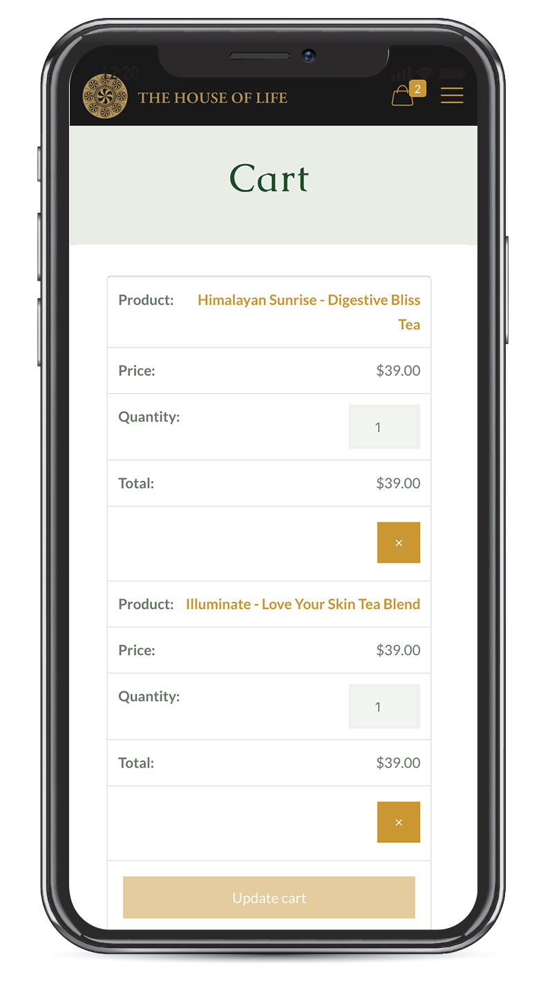 Ecommerce website on mobile - Shop preview