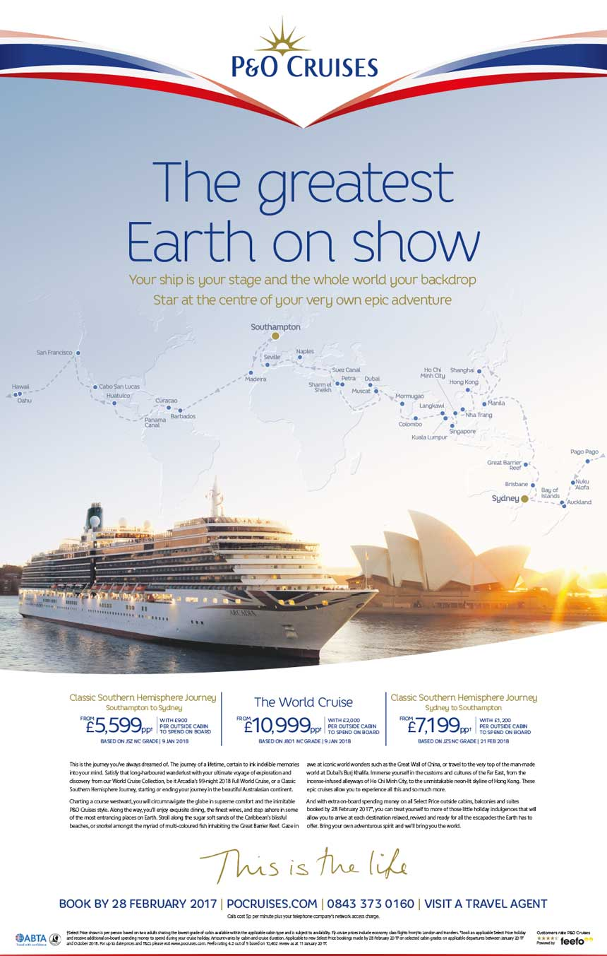 P&O Cruises Sunday Times Ad