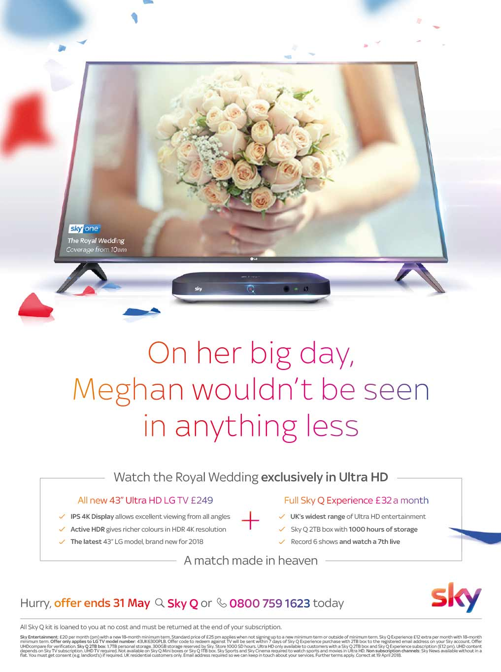 The Royal Wedding on Sky TV - Copywriting for Press Ad